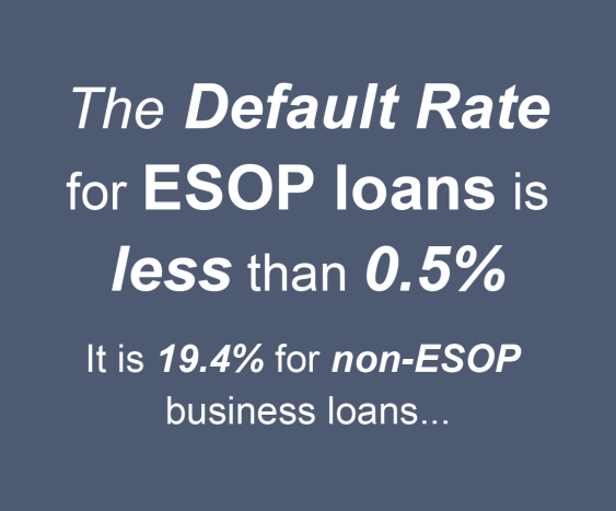 The Default Rate for ESOP loans is less than 0.5%. It is 19.4% for non-ESOP business loans...