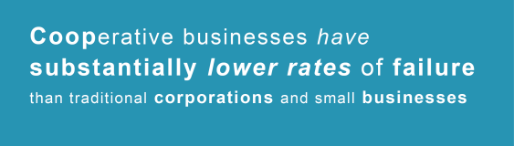 Cooperative businesses have substantially lower rates of failure than traditional corporations and small businesses.